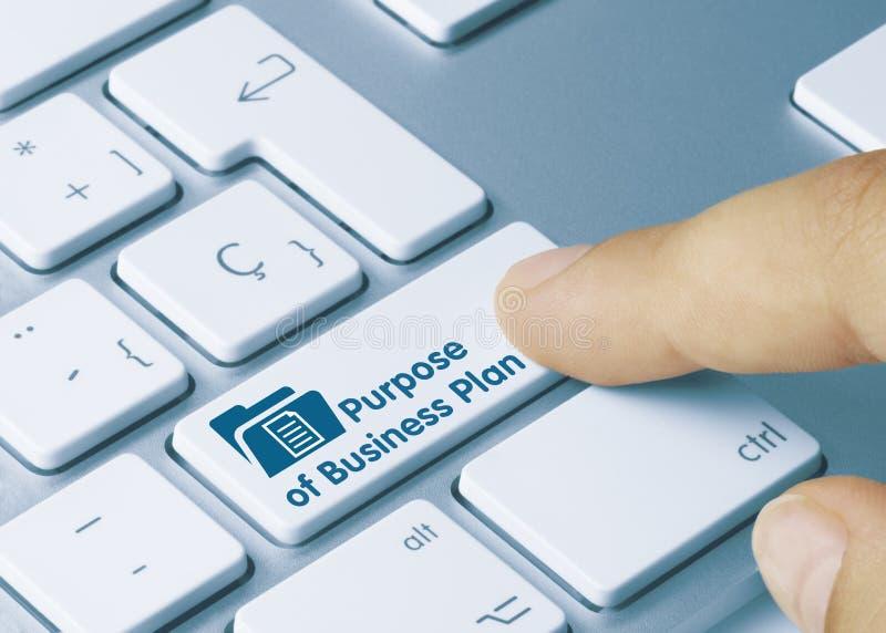 Propósito del plan de negocios - Inscripción en clave de teclado azul foto de archivo libre de regalías