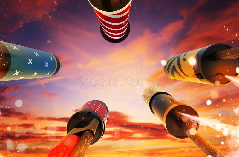 Propósito inferior del lanzamiento de cohetes de los fuegos artificiales en el cielo foto de archivo