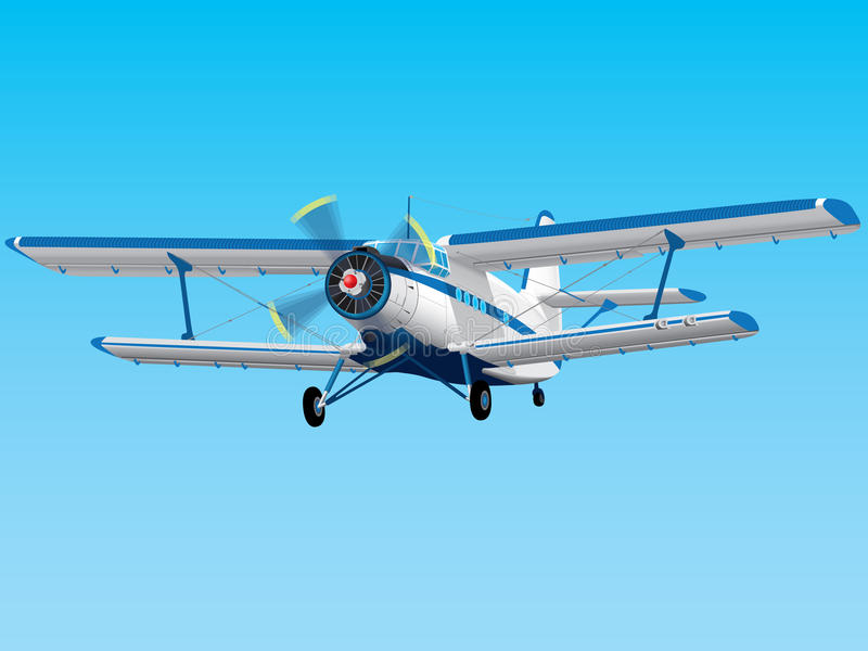 Prop biplane. Highly detailed propeller An-2 biplane royalty free illustration