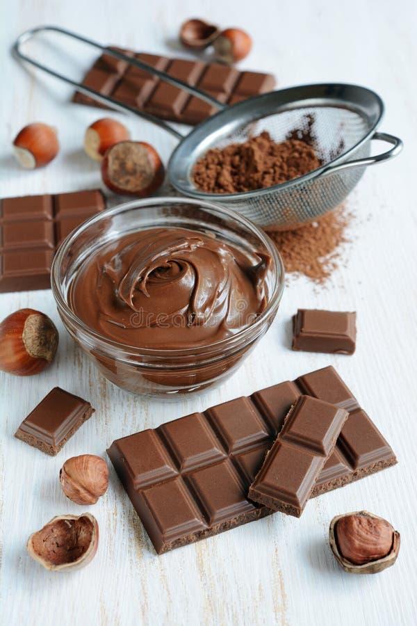 Propagação caseiro do chocolate da avelã fotografia de stock royalty free