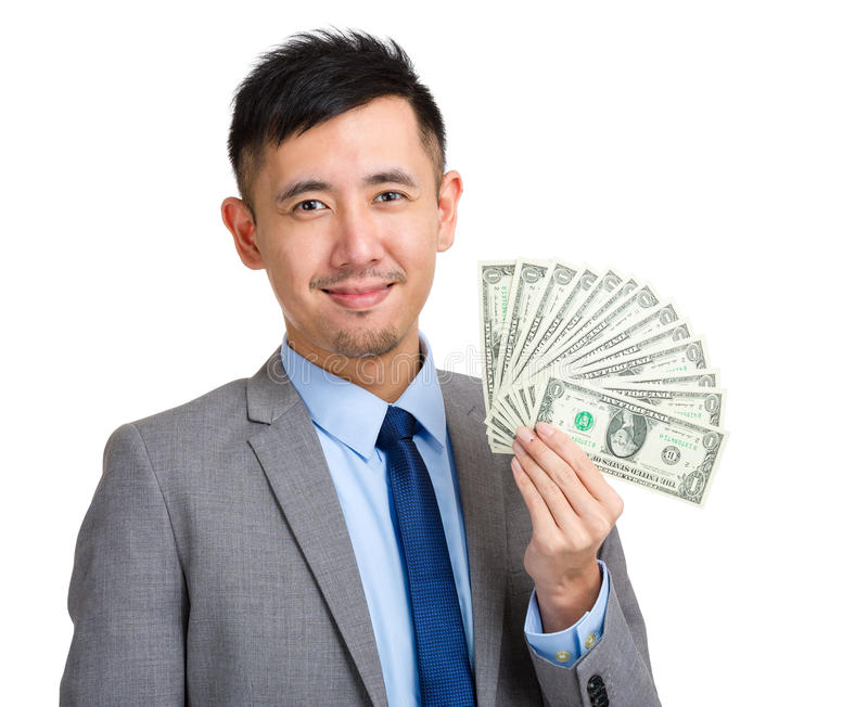 Propagação da terra arrendada do homem de negócios do dinheiro imagem de stock royalty free