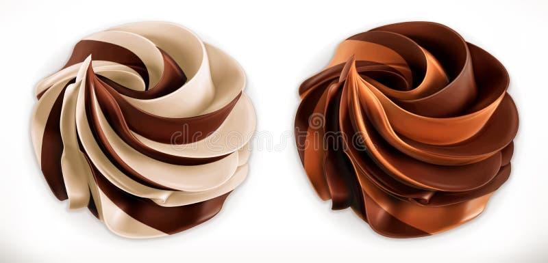 Propagação do duo do redemoinho do chocolate ícone realístico do vetor 3d ilustração do vetor