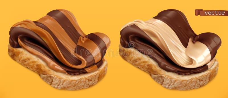Propagação do duo do redemoinho do chocolate no ícone realístico do vetor do pão 3d ilustração royalty free