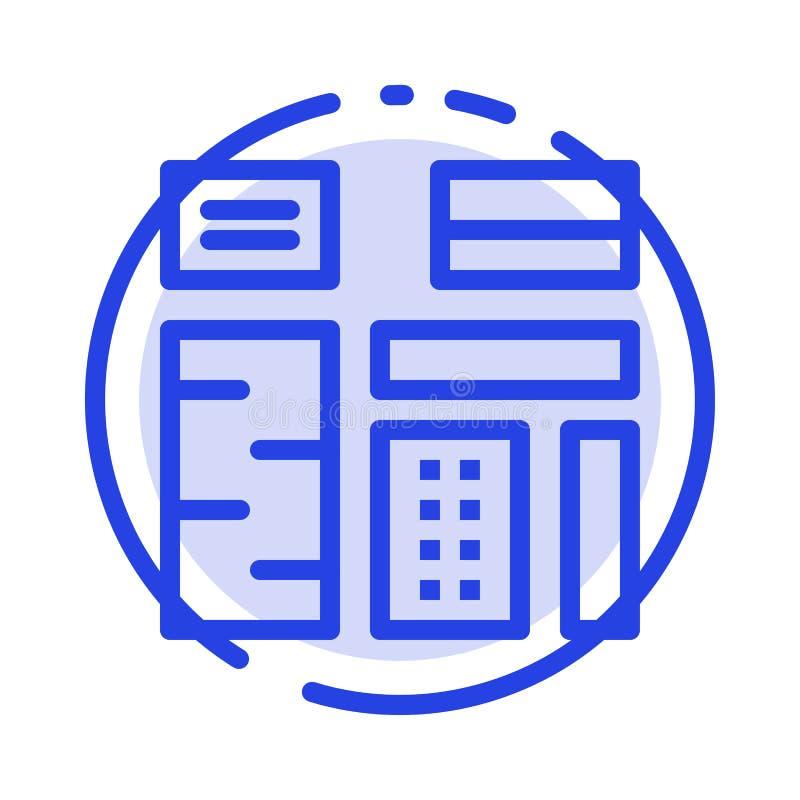 Propaganda, índice, característica, nativo, linha pontilhada azul superior linha ícone ilustração stock