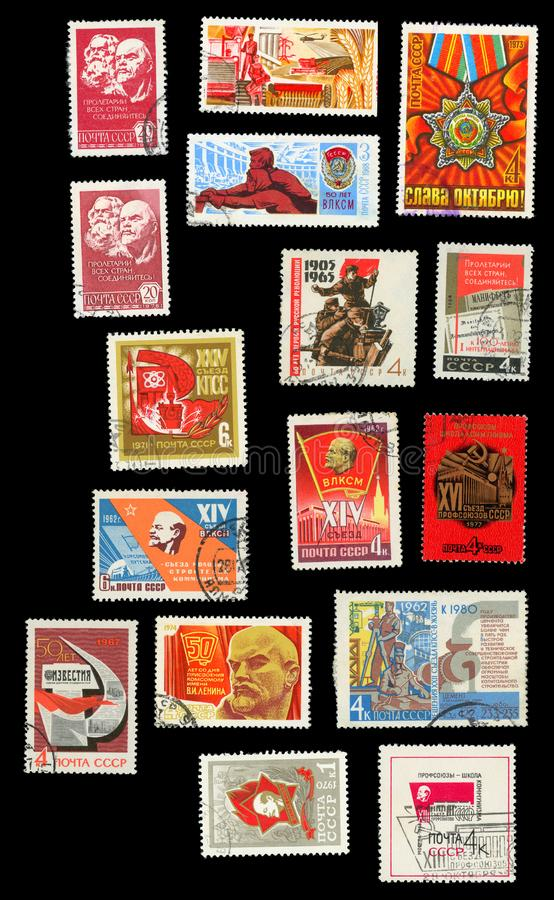 Propaganda da ideologia comunista nos selos postais do th fotografia de stock royalty free