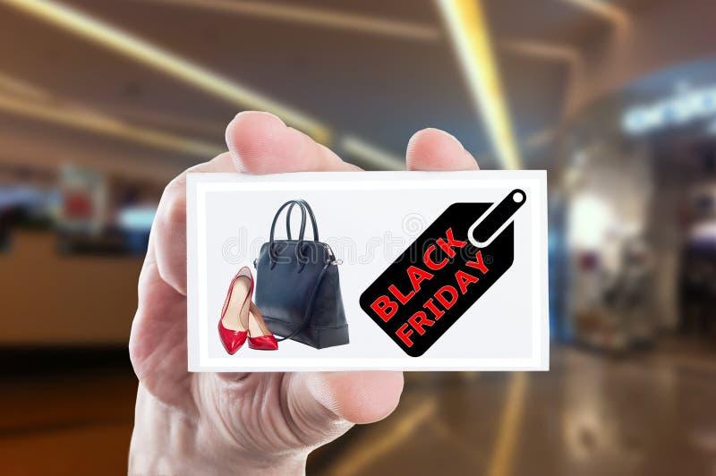 Propaganda de Black Friday para sapatas e bolsas da mulher fotografia de stock royalty free