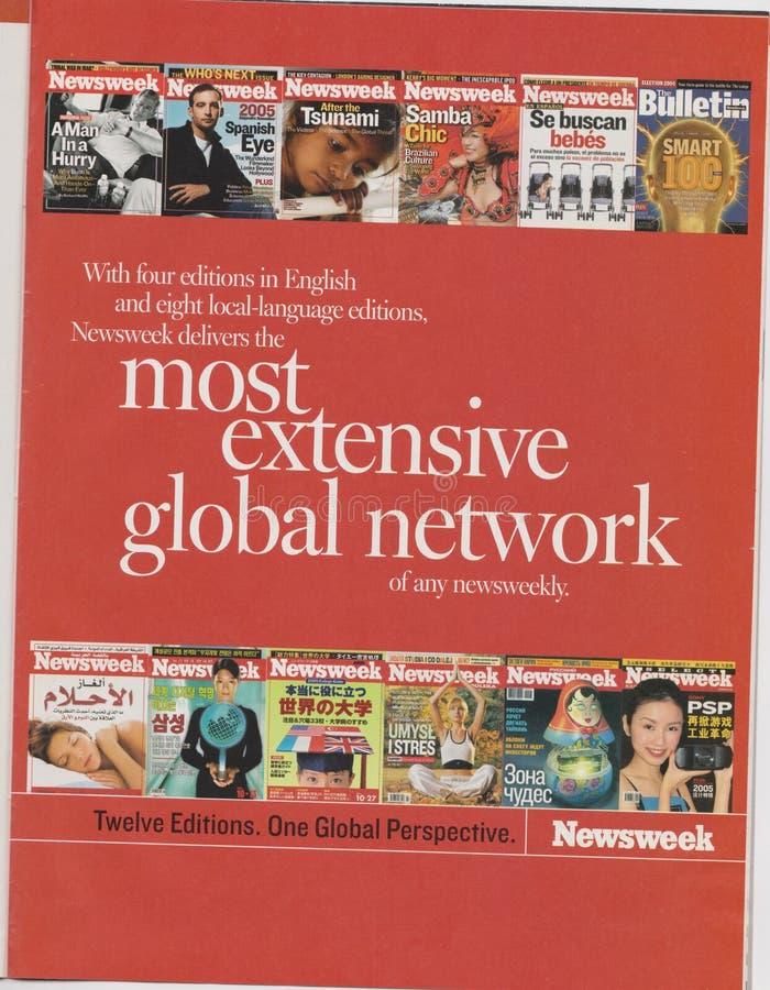 Propaganda de cartaz de Newsweek no compartimento desde outubro de 2005, a maioria de slogan extensivo da rede global imagem de stock royalty free