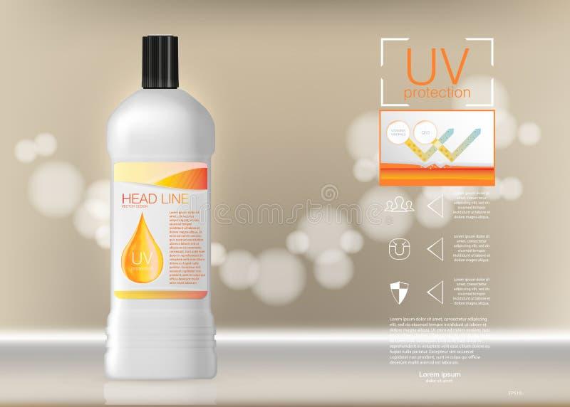 Propaganda de produto dos cosméticos do projeto Ilustração EPS10 do vetor Anúncios molde de Sunblock, cosmético da proteção do so ilustração stock