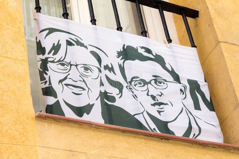 Propaganda do ³ n de ñigo Errejà do  de Manuela Carmena e de à para a eleição local 2019 do Madri fotos de stock royalty free