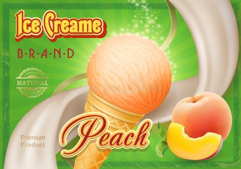 Propaganda do gelado de pêssego, ilustração do vetor ilustração do vetor