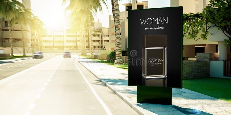 propaganda do perfume da mulher no quadro de avisos em subúrbios ilustração stock