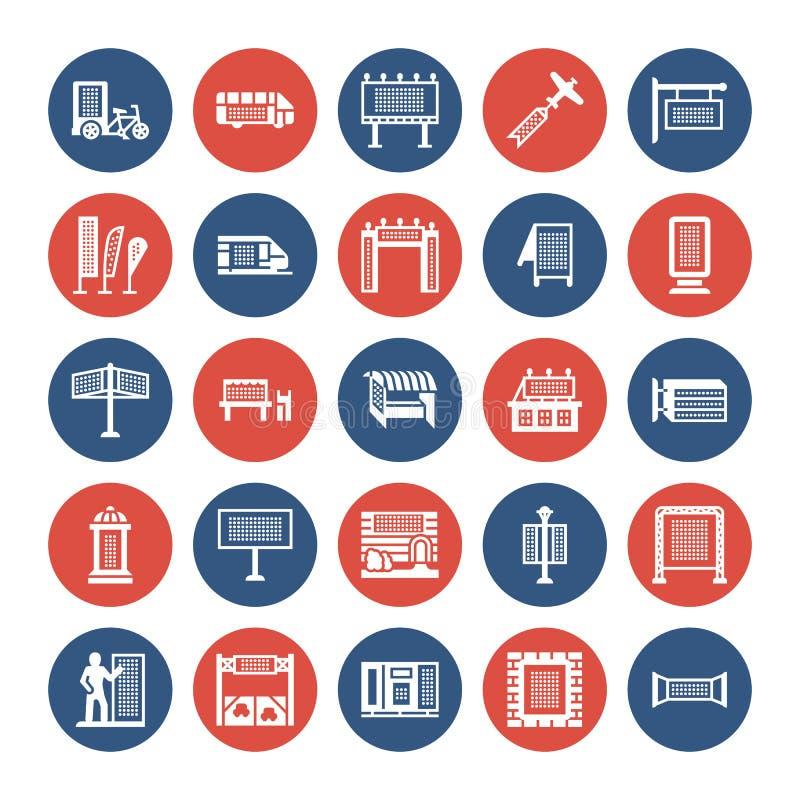 Propaganda exterior, ícones lisos do glyph do mercado comercial Quadro de avisos, quadro indicador da rua, anúncios do trânsito,  ilustração stock