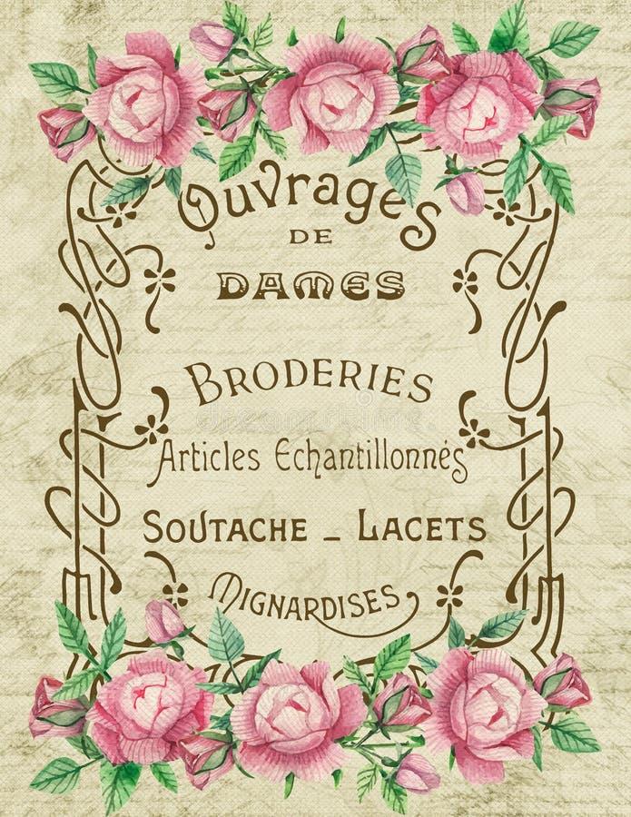 Propaganda francesa do vintage - propaganda do bordado - rosas cor-de-rosa - transferência de imagem ilustração stock