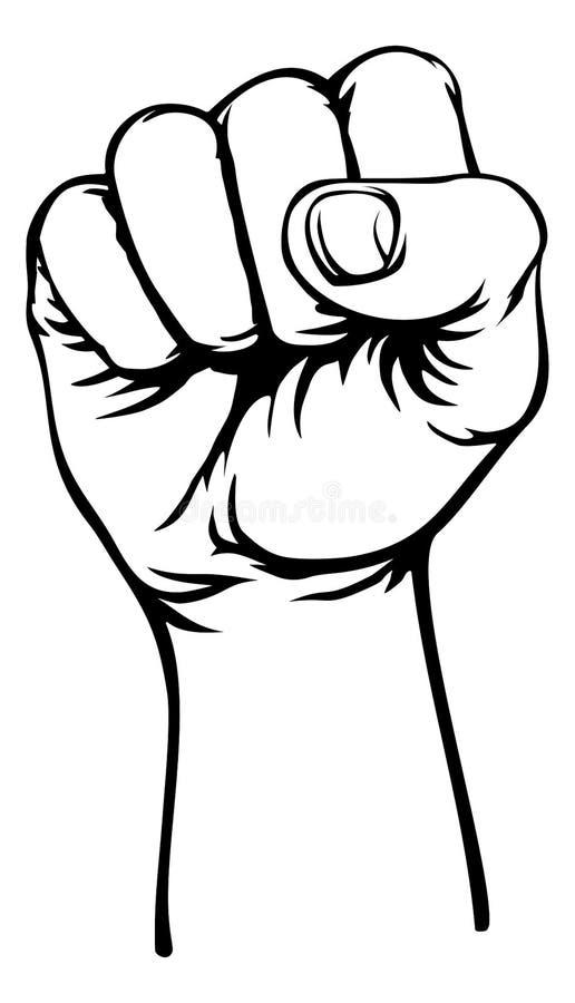 Propaganda levantada do ar da mão da revolução punho retro ilustração do vetor