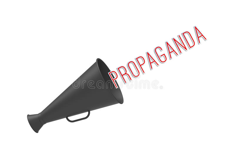 Propaganda. Megaphone on simple white background with pop-up caption 'Propaganda'. Concept of call-for-action, aggressive promotion and mass media manipulations royalty free stock photo