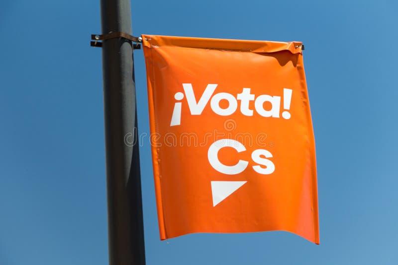 Propaganda para a eleição local 2019 do Madri para 'o partido de Ciudadanos fotografia de stock
