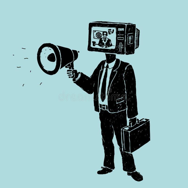 Propaganda pela tevê e pelo altifalante ilustração stock
