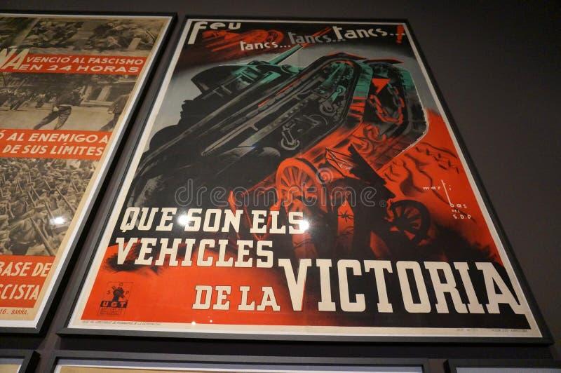 Propaganda-Plakat am Museum in Barcelona lizenzfreie stockfotos