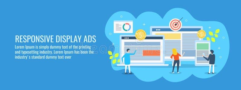 Propaganda que indica em dispositivos digitais diferentes, conceito responsivo do Internet da campanha publicitária nos meios de  ilustração stock