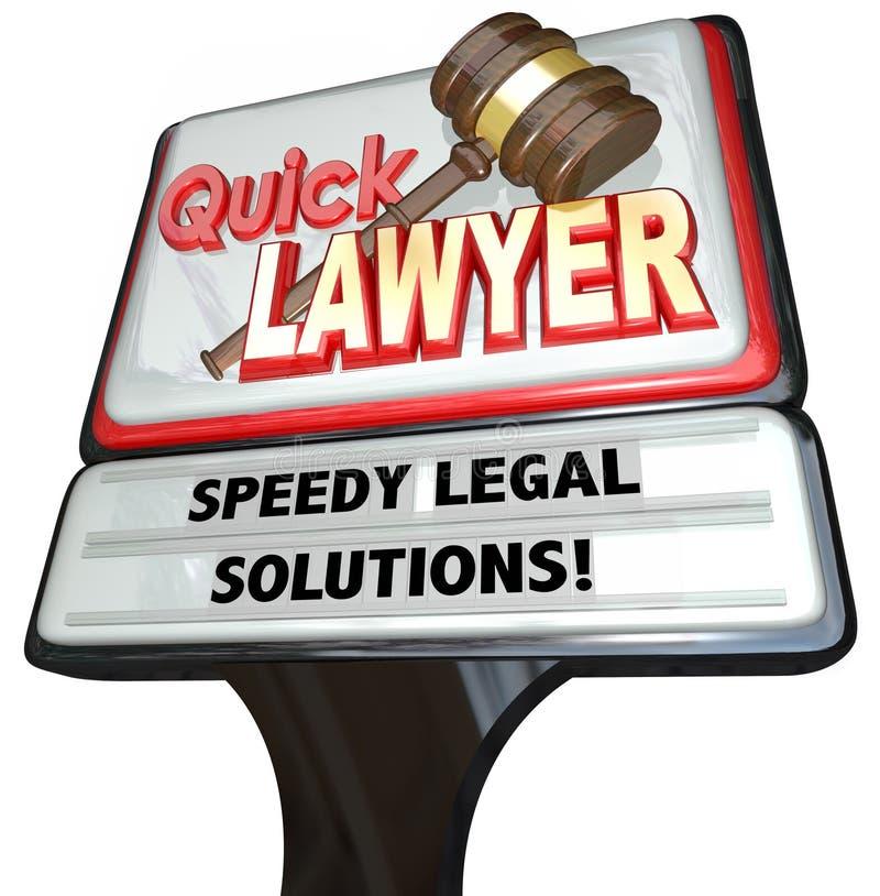 Propaganda rápida do sinal de Speedy Legal Solutions do advogado do advogado ilustração royalty free