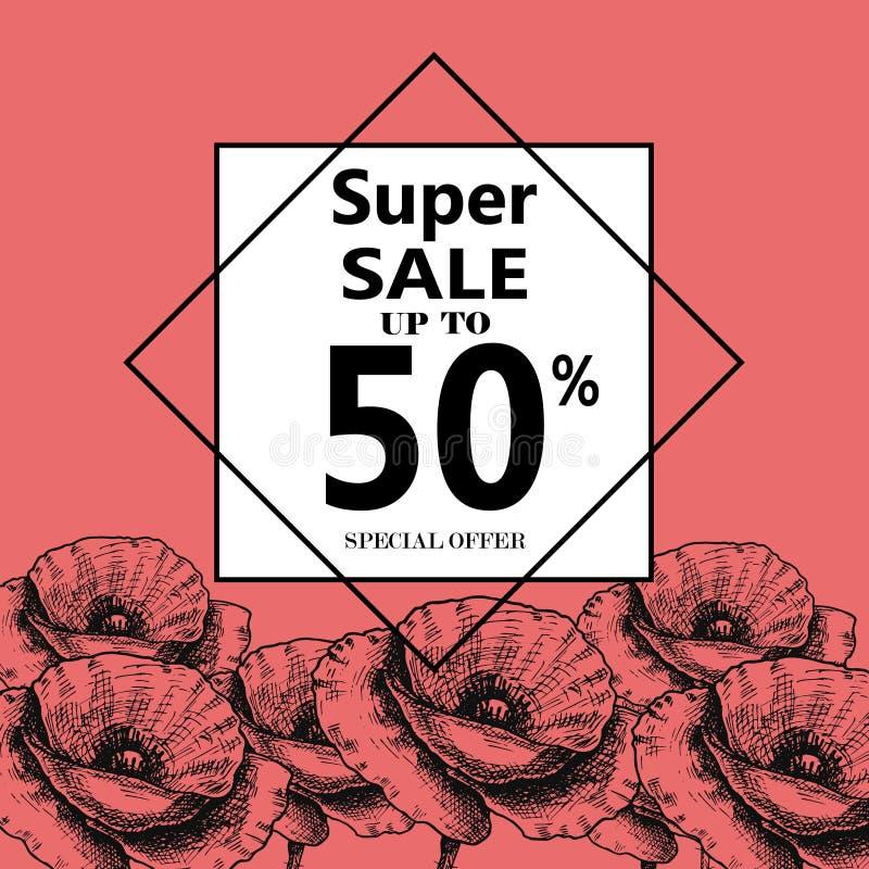 Propaganda sobre a venda do verão no fundo com Poppy Flowers bonita, rotulação, caligrafia Um disconto sazonal ilustração royalty free