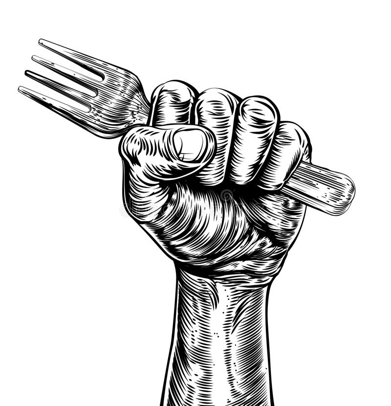 Free Propaganda Woodcut Fist Hand Holding Fork Stock Photos - 65288683