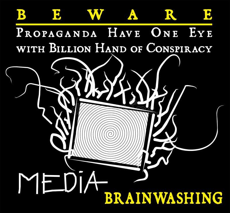 Propagandamassmedia akta sig royaltyfri illustrationer