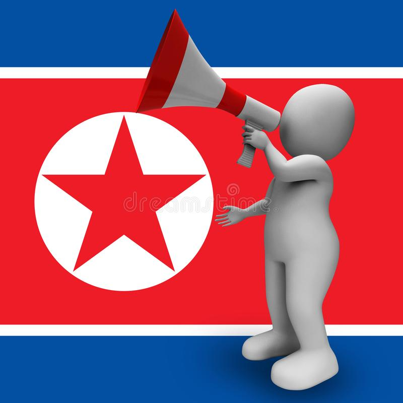 Propagandamegafon från illustration för Nordkorea diktator 3d royaltyfri illustrationer