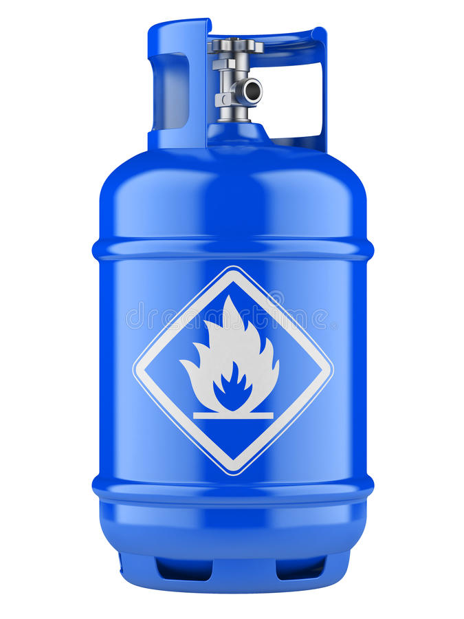 Propane cylinders with compressed gas. Blue propane cylinders with compressed gas isolated on a white background vector illustration