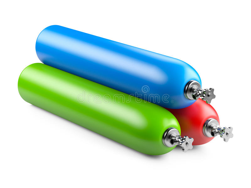Propane cylinders with compressed gas. Isolated on a white background royalty free illustration