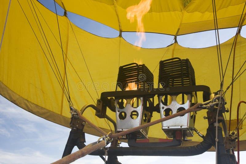 Propane gas burners of hot air balloon stock image