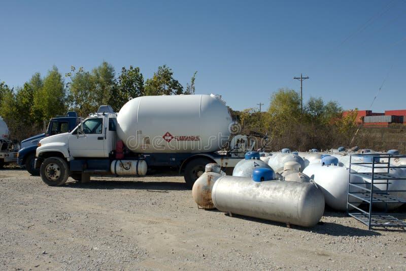 Propane Trucks. Propane tank trucks at a retail propane refill facility royalty free stock photo