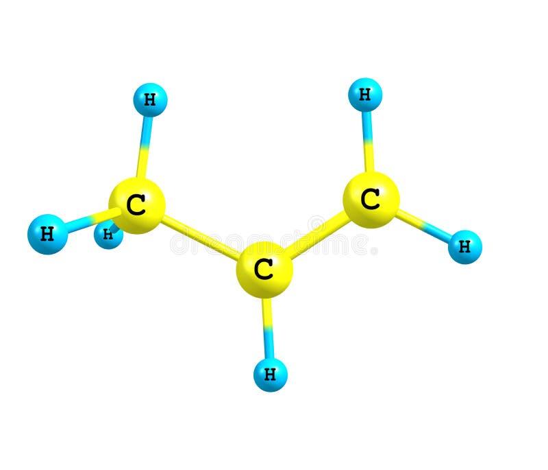 Propeen (propyleen) moleculaire structuur op witte achtergrond royalty-vrije illustratie