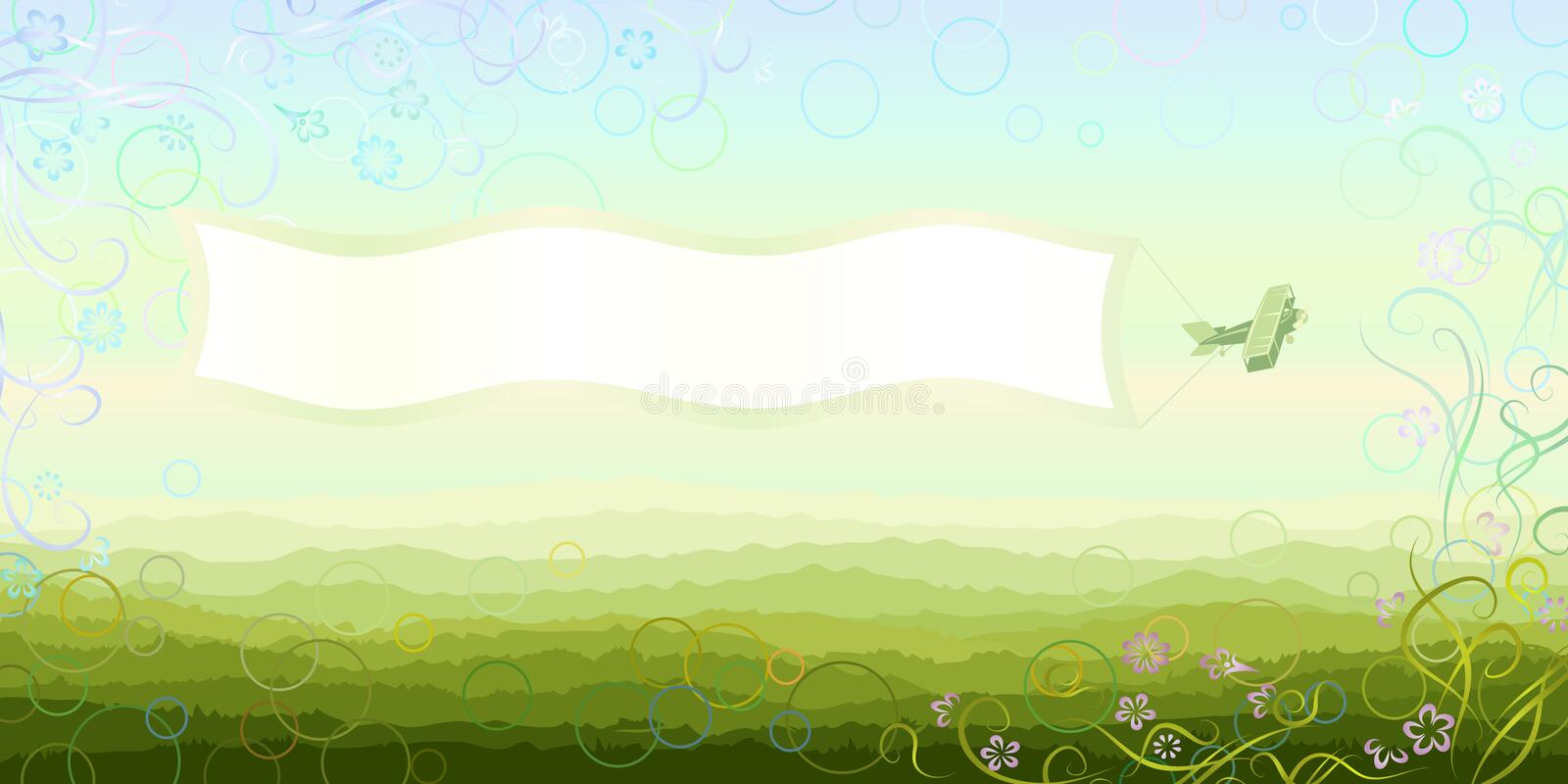 Propelled airplane pulling an empty banner stock illustration