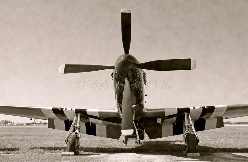 Propeller aircraft. Black and white photo of vintage turboprop airplane royalty free stock photo
