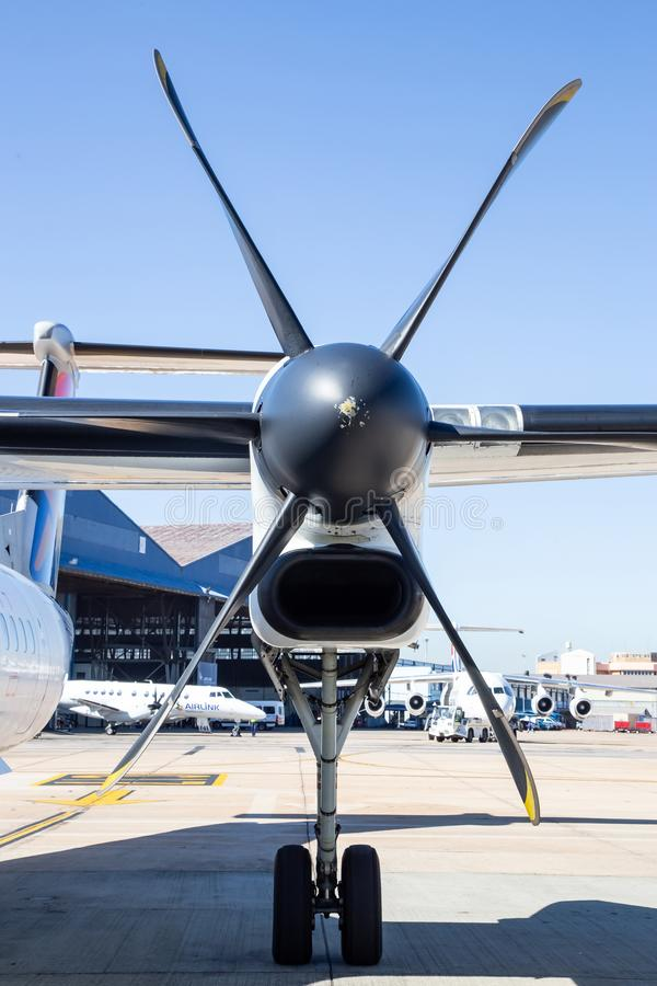 Propeller of aircraft waiting on tarmac stock photo