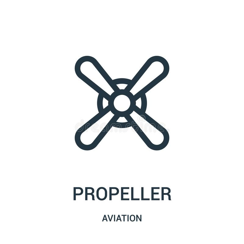Propeller icon vector from aviation collection. Thin line propeller outline icon vector illustration. Linear symbol for use on web. And mobile apps, logo, print vector illustration