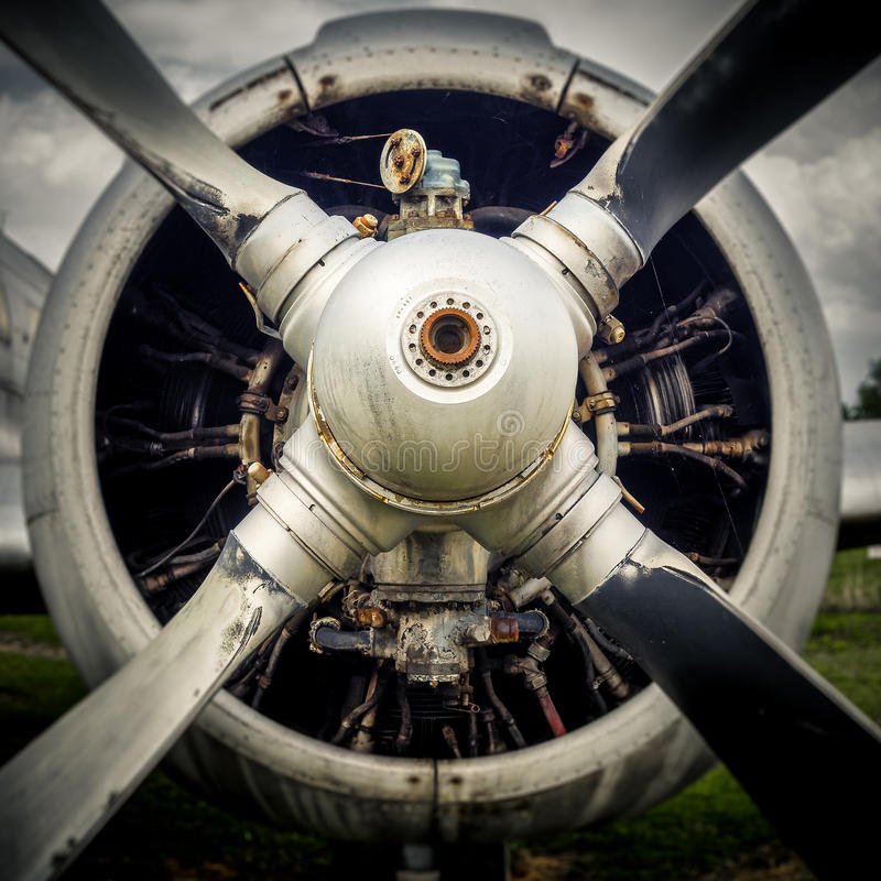 The propeller of an old airplane royalty free stock photos