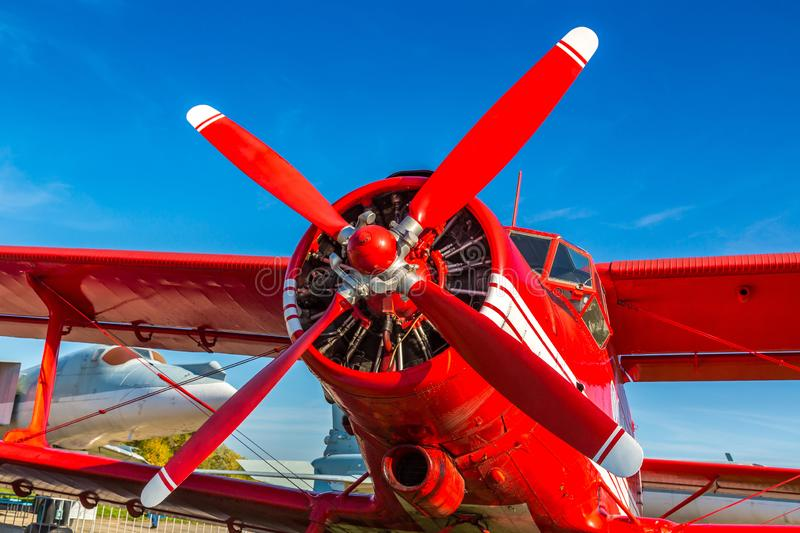 Propeller of Red biplane stock image