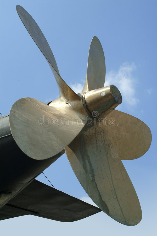 Propeller of a submarine stock images