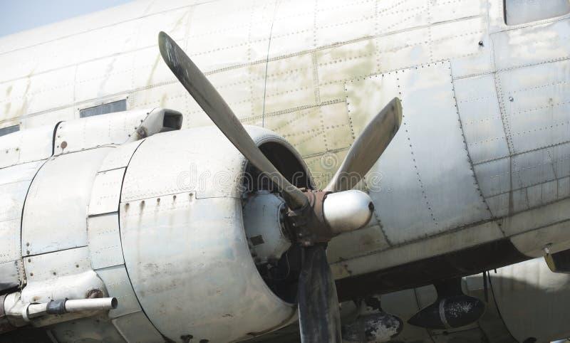 Propellerdetail Propellor van vliegtuig Omwenteling en het wervelen Luchtvaart en luchtvervoer Zwerflust of vakantie stock foto's
