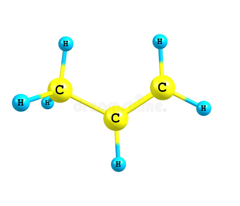 Propene (propylene) molecular structure on white background royalty free illustration