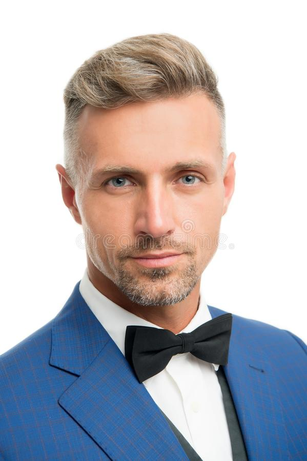 Proper bow tie. Gentleman modern style. Guy well groomed bearded gentleman wear tuxedo. Barber shop concept. Radiating. Confidence Elegant gentleman. Fashion stock photo
