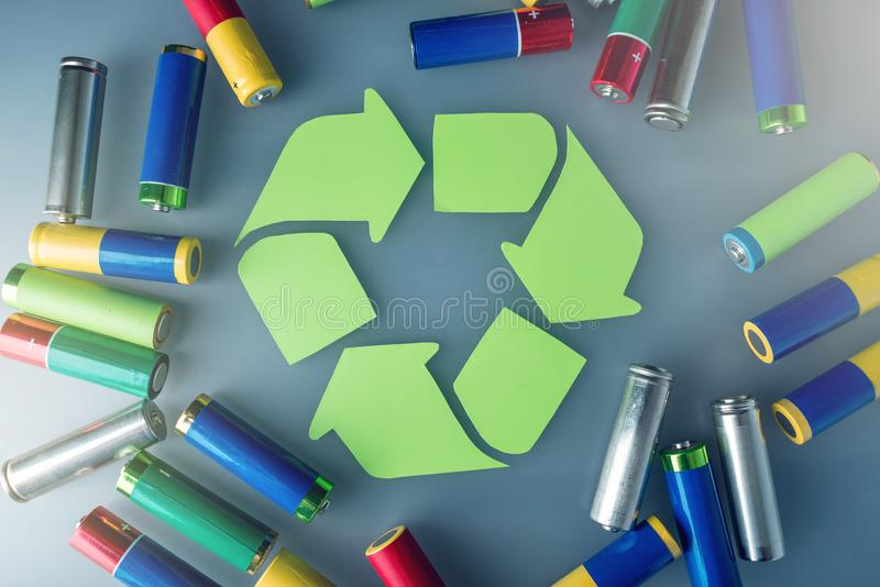 Proper disposal of toxic to the soil environment and batteries. Recycling of harmful substances for ecological. Used AA and proper disposal of toxic to the royalty free stock photos