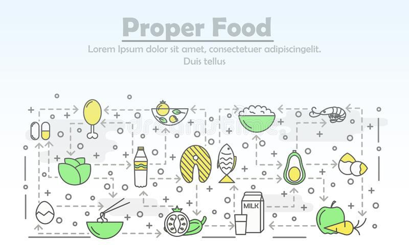 Vector thin line art proper food poster banner template royalty free illustration