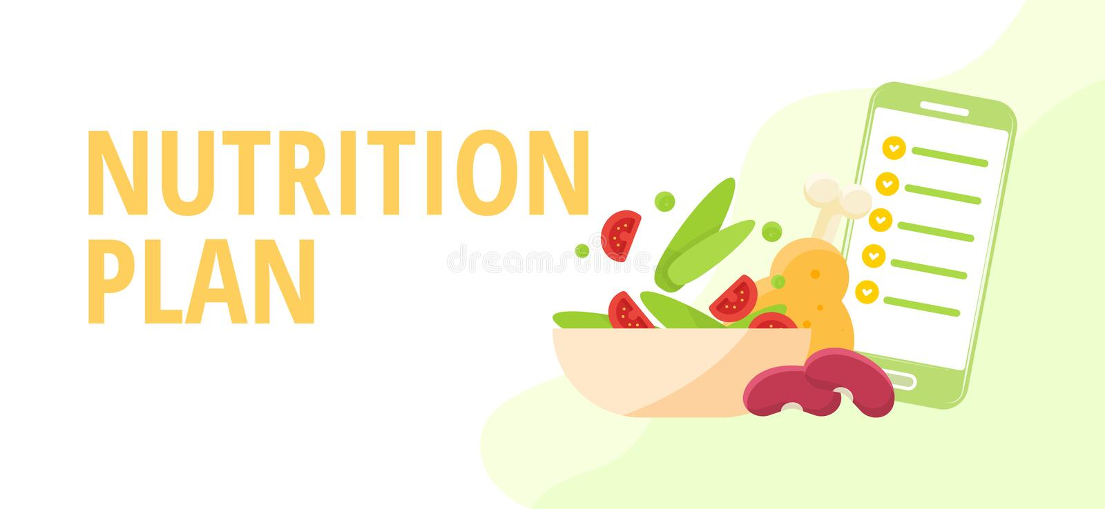 Diet and nutrition concept Nutritionists planning a diet using a food stock illustration