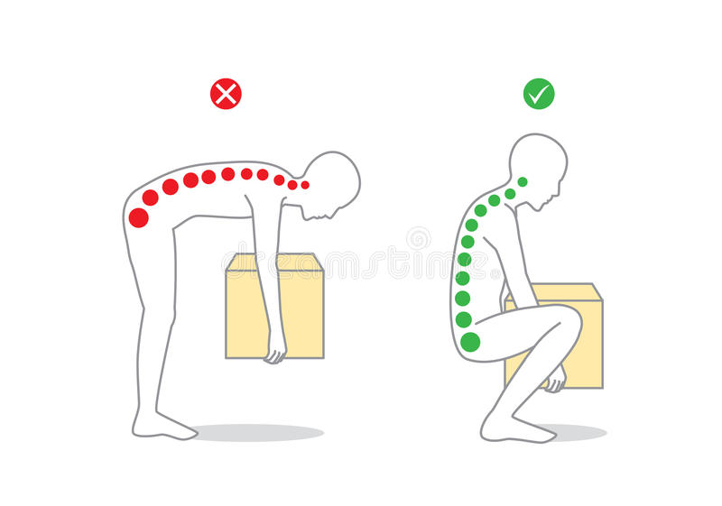 Proper posture to lift a heavy object royalty free illustration