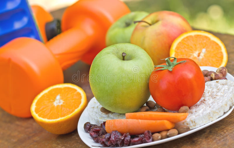 Proper way to healthy living. Proper nutrition and physical activity to healthy life stock images