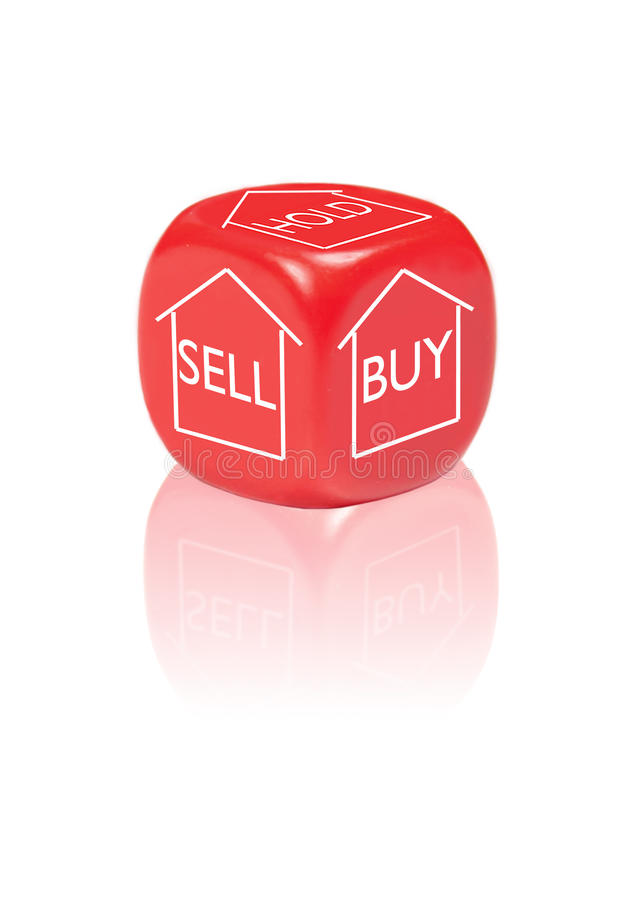 Property buy, sell and hold concept. Dice with different outcomes for making a decision on a property stock image