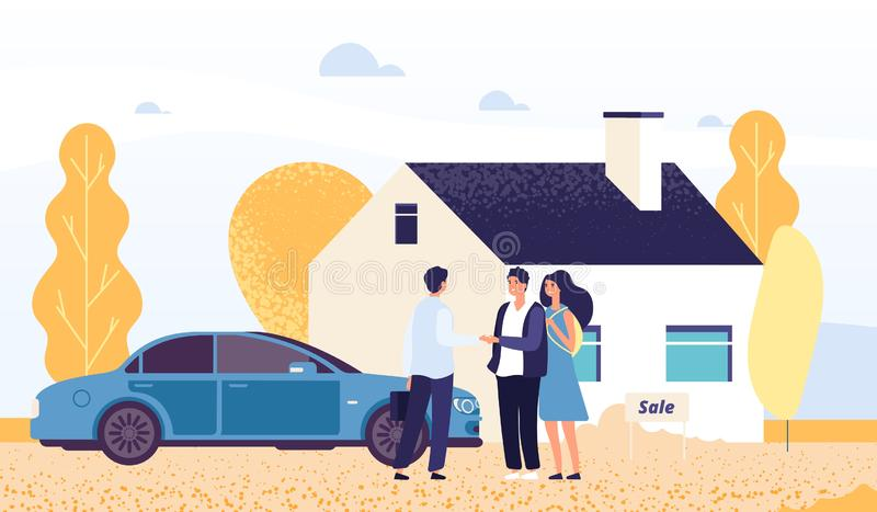 Property concept. Happy young couple buys a house. Vector real estate agent, male and female characters stock illustration